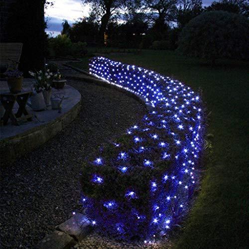 Light Blue LED Net, Outdoor Christmas Halloween Garden Gazebos Fence Waterproof Lighting Decoration 1.5 * 1.5M 96LEDs, Indoor Curtain Fairy String 8 Modes