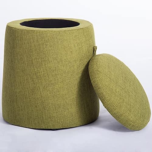 Sgabello Portaoggetti Rotondo Poggiapiedi Ottomano Sgabello Per Scarpe Sedile Per Tavolino Da Caffè Con Rivestimento Sfoderabile Adatto Per Soggiorno Camera Da Letto,Green