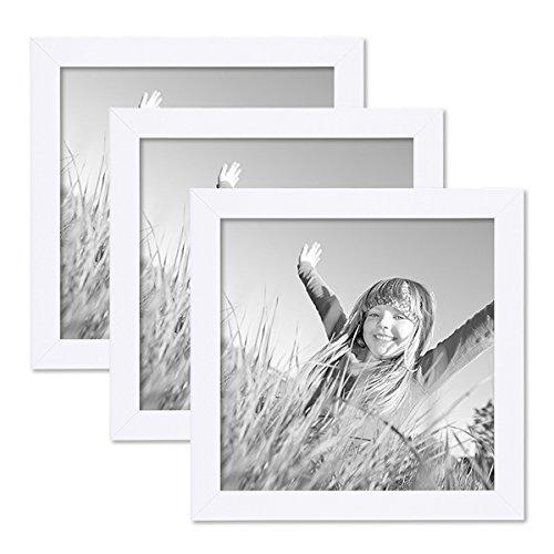 PHOTOLINI 3er Set Bilderrahmen 20x20 cm Weiss Modern aus MDF mit Glasscheibe und Zubehör/Fotorahmen