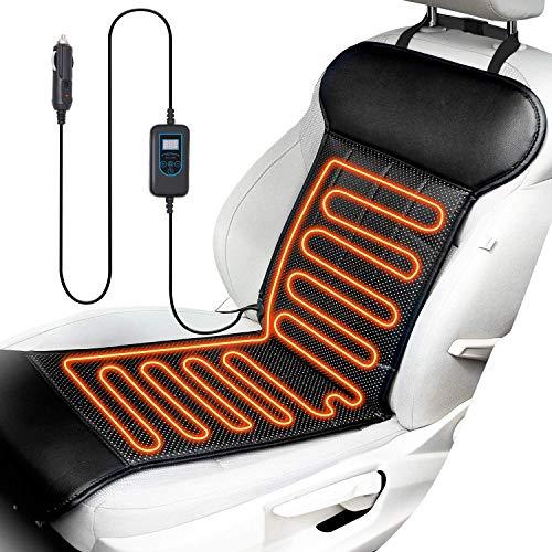 ELUTO Sitzheizung Auto Heizkissen 12V Beheizte Sitzauflage mit Zeit Temperatur Kontrolleur Universal Vordersitz Heizauflage schwarz für Auto Haus