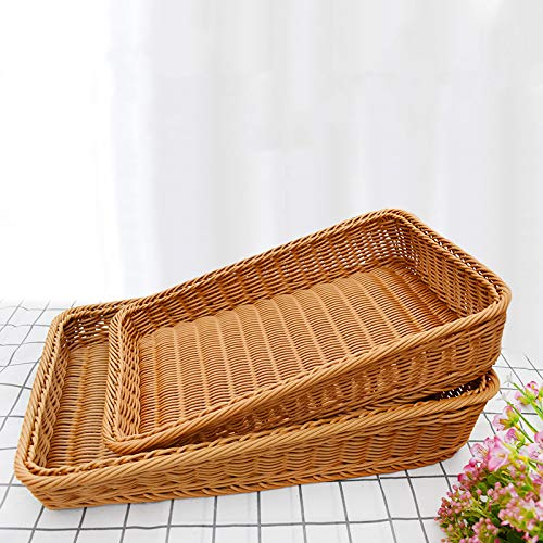 2 cestas de pan tejidas a mano, cesta rectangular de mimbre de imitación para pan, cesta tejida para servir alimentos y verduras, servicio de restaurante