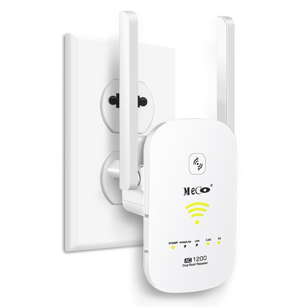 ツーリスト水自転車WIFI 無線LAN中継器 MECO AC1200 無線信号中継装置 ルーター/AP/リピータ 3in1機能 2xWANポート WPS/電源/リセットスイッチ 無線信号増幅装備 ンセント直挿し シームレスなローミングWIFI 無線LAN中継機 WiFi 信号 増幅器 デュアルバンドワイヤレス 2.4GHz 300Mbps/5GHz 867Mbps