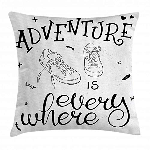vnsukdlfg Adventure Throw Pillow Cushion Cover, Motivational Design Youth Theme with Pair of Sneakers Walking Hiking Wanderlust, Decorative Square Accent Pillow Case, 18 X 18 Inches, Black White
