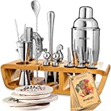 Bar Set Cocktail Shaker Set for Home: 25 Piece Mixology Bartender Kit With Stand | Ideal Gift Bartending Set for an...