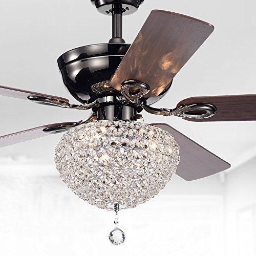 "Warehouse of Tiffany CFL-8176CH Taliko Ceiling Fan 52-inch 3-Light Black Metal Housing Crystal Shade Basket, 52""W x 52""L x 22.4""H, Silver"