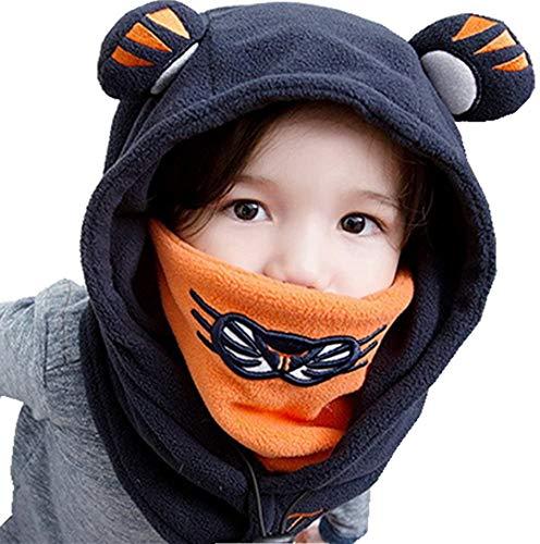 Synemio Enfant Cagoule Coupe-Vent Masque De Ski Hiver Chaud Bonnet Filles Garçons