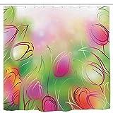N\A Vivero, Lindos Animales y Flores inspirados en la Naturaleza Elementos vítores Coloridos Dulce Selva, Cortina de Ducha Impermeable Multicolor Impermeable