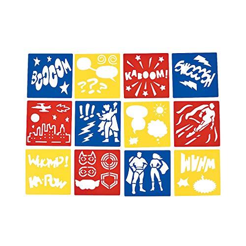 "Fun Express Superhero Stencils (12 Pack) Plastic. 5"" x 5"". Super Hero"