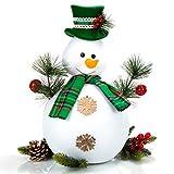 com-four® Schneemann Figur Größe XL, süße Weihnachtsdeko, optimal als Tischdeko zur Adventszeit, schöne Dekofigur für Innen, 42,5 cm (grün-weiß - XL) - 2