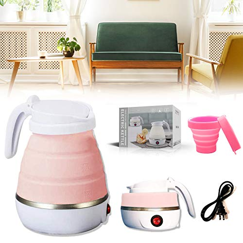 Foldable Portable Kettle Travel Electric Kettle Food Grade Silicone Kettle with Separable Power Collapsible Heating Boiler for Coffee Tea Milk etc (Pink)