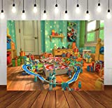 SDDSER Cartoon Toy Background 7X5FT Polyester Story Train Photo Backgrounds for Kids Birthday Party Backdrop Photography Party Supplies MSDZY363