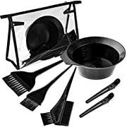 Whaline 7Pcs Hair Dye Coloring Set 3 Types Hair Dye Comb Brush 1 Mixing Bowl 2 Hair Clip and 1 Transparent Bag Hair Tint Tools Dying Coloring Applicator for Hairdressing Salon Bleaching