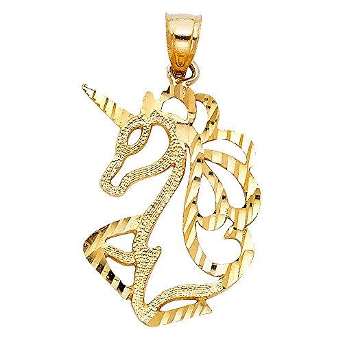 Paradise Jewelers sólido amarillo pulido colgante del unicornio de oro de las mujeres