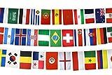 Flaggenfritze WM Fahnenkette Flaggenkette Fußball 2018 - alle 32 Teilnehmer der Weltmeisterschaft, Länge 17,80 m