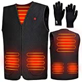 Heated Vest for Women and Men, Electric Heated Jacket USB Charging Adjustable Temperature Control Electric Body Warmer Gilet with Black Knitted Gloves for Cycling, Hunting, Hiking, Skiing (Medium)