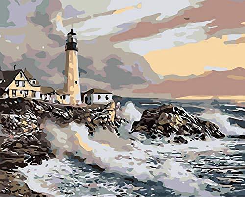 GenericBrands Pintar por Numeros Faro rocoso Lienzo Regalo de Pintura para Adultos Mayores (Sin Marco, 16 * 20 Pulgadas)