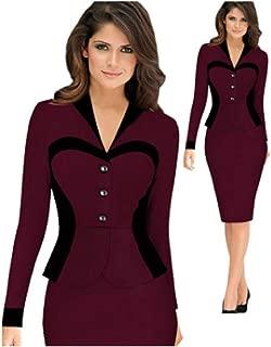 KCatsy Women Turn Down Collar Elegant Lapel Patchwork Faux Wear to Work Office Sheath