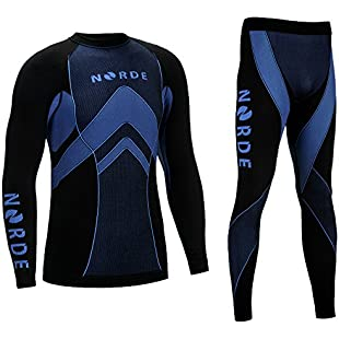 THERMOTECH NORDE Functional Thermal Underwear Breathable Active Base Layer SET (Black/Blue, M):Ukcustomizer
