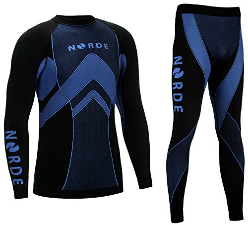 THERMOTECH NORDE Herren Funktionswäsche Thermoaktiv Atmungsaktiv Base Layer SET Outdoor Radsport Running (Schwarz/Blau, XL)