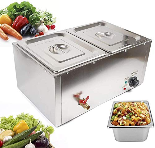 DONNGYZ Electric Food Warmer Buffet Steam Table Stainless Steel Large Capacity 2 Pan Commercial Suitable for Restaurant Kitchen 850W(US Stock)