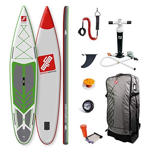 grandtoursports*com Stand Up Paddle Board, 75x366x15cm 315l Ladekapazität bis 160kg, aufblasbares SUP Stand Up Paddling Board GTS SPORTSTOURER 12.0 GWG inkl. Zubehör Set