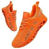 BUBUDENG Hombre Deportivas Zapatillas Running Hombre Tenis Zapatillas de Tenis para Hombre con Cordones Casuales y Ligeras Naranja EU44