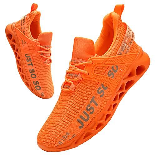 BUBUDENG Hombre Deportivas Zapatillas Running Hombre Tenis Zapatillas de Tenis para Hombre con Cordones Casuales y Ligeras Naranja EU46