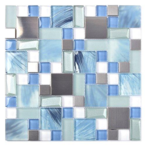 Sea Blue Green Glass Stainless Steel Tile White Kitchen Bath Backsplash Artistic Mosaic TSTMGB028 (10 Square Feet)