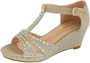 Girls Embellished Sparkle T-Strap Wedges Style KCHRISTY7