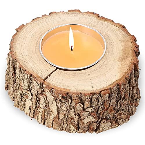 KADAX Rustikale Kerze im Baumstamm, Outdoorkerze, Gartenkerze aus Naturbelassenem Holz, Flammschale, Dekokerze, Kerzenständer, Holzkerze (Orange, Mittel)