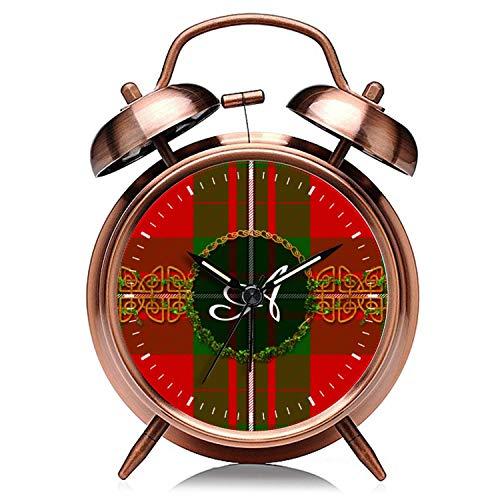 Reloj de Navidad de cobre retro silencioso con luz de noche doble campana despertador 578.Monograma rojo y verde Navidad a cuadros reloj despertador