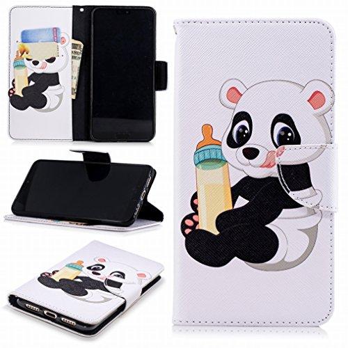 LEMORRY Funda para Huawei P20 Pro Cuero Funda Billetera Tapa Estuches Bolsa con Ranuras para Tarjetas Magnética Protector Stand Suave TPU Silicona Piel Cover para Huawei P20 Pro, Baby Panda