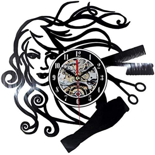 Mujer Peluquería Música Disco de Vinilo Reloj de Pared Arte Decoración de la habitación del hogar Conjunto de Regalo de músico Idea para Amantes de la música Reloj LP de 12 Pulgadas Negro