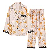 Pijamas de Mujer de Manga Larga de Seda de Hielo Estilo Chino Vid Flor Amarilla Pantalones de Manga Larga Conjunto de Servicio a Domicilio Pijamas de Lujo
