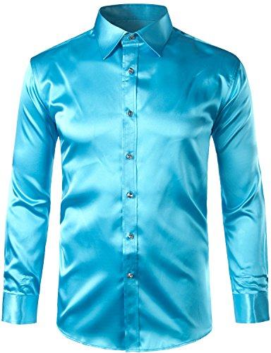 ZEROYAA Mens Regular Fit Long Sleeve Shiny Satin Silk Like Dance Prom Dress Shirt Tops Z6 Lake Blue XX Large