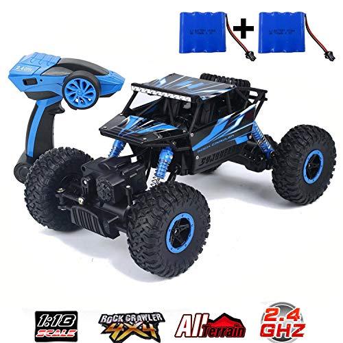 SZJJX Fernbedienung Auto Off-Road Rock Crawler RC Lastwagen Leistungsstarkes Fahrzeug 2,4 Ghz 4WD 1:18 Racing Klettern Autos Radio Elektrische Buggy Hobby Spielzeug für Kinder Geschenk (Blau)
