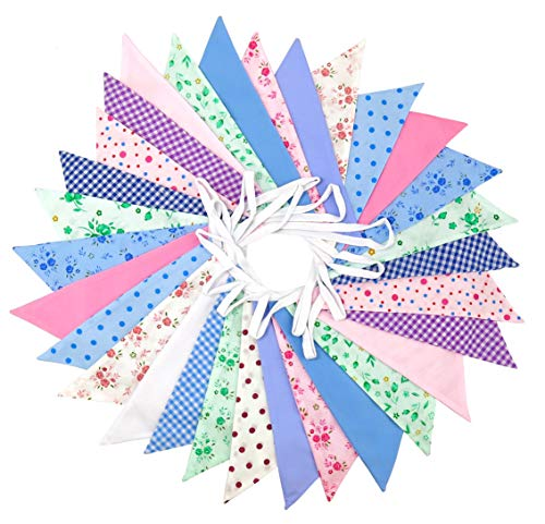 Flyingstart Floral Double Sided Fabric Bunting Banner - 10m (32.8 Feet) - Triangle Flags Vintage Shabby Chic Party Pennants Decoration for Wedding Birthday Parties