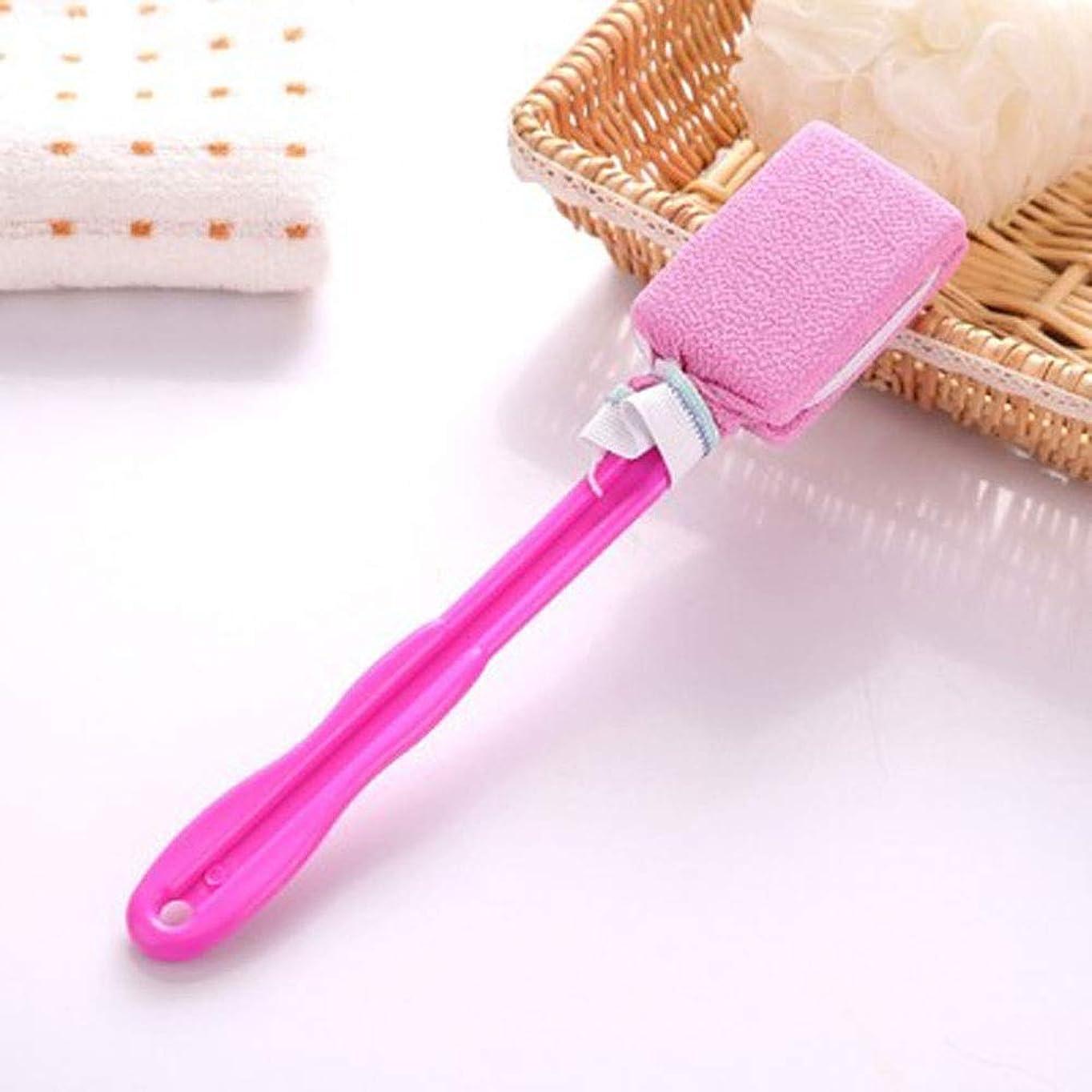 誘導慣れる確執YWAWJ 男性と女性のシャワーボディバックスクラバーの長いハンドルバックブラシでソフトバックボディをぶら下げ新しい長いハンドル (Color : Pink)