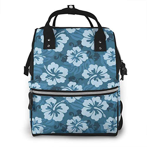 Shichangwei Mochila Escolar Diaper Bag Backpack Travel Bag Large Multifunction Waterproof Hawaiian Hibiscus Flowers and Leaves Stylish and Durable Nappy Bag for Baby Care School Backpack