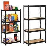 "Local Vocal Zone ™ Black Adjustable 4-Shelf Shelving Unit Storage Rack Utility Rack Garage Shelves Display Rack Steel Boltless Rivet Rack Industrial Storage Shelving Unit (4'6""(H) x 2'(W) x 1'(D)"