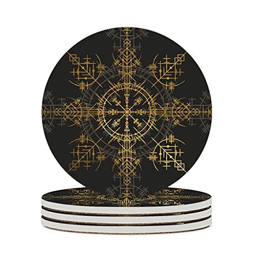 Uicoomhill Posavasos de cerámica de primera calidad, estilo retro, para cumpleaños, color blanco, 4 unidades