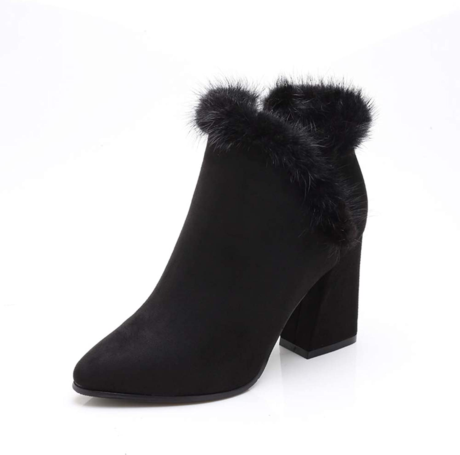 Zarbrina Womens Chunky Block Heel Fur Lined Ankle Boots Fashion Round Toe Short Plush High Platform Zipper Up Winter Warm Snow Party shoes