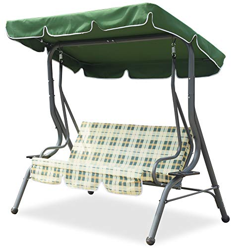 3-Person Steel Porch Canopy Swing Seat with Stand, Adjustable Canopy Soft Cushioned UV Protection for Garden Poolside Porch Patio Backyard