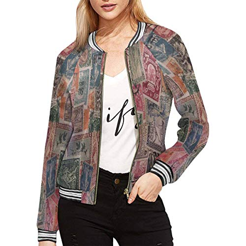 InterestPrint Postage Stamps from Different Countries Women's Long Sleeve Zip up Classic Jacket M