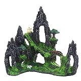Gojiny Decoración del Acuario de Resina Acuario Rocoso Pecera Decoración de La Vista de La Montaña Ornamento de Cueva de Resina de Roca