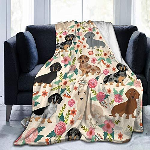 Coperta reversibile per letto in flanella per tutte le stagioni, splendida coperta per divano e divano, motivo bassotto con stampa di fiori rosa, 150 x 200 cm