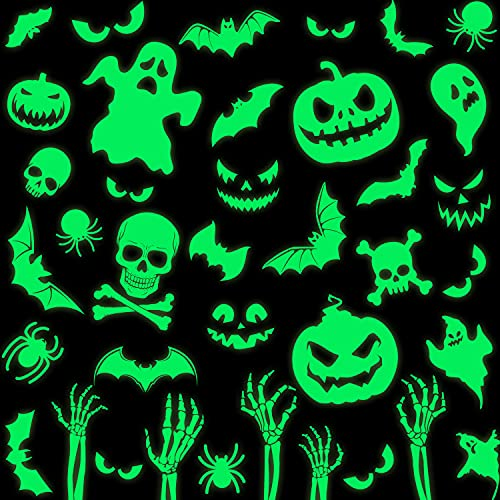 Haooryx 93Pcs Halloween Glow in The Dark Window Decal Stickers Kit, Luminous Fluorescent Sticker...