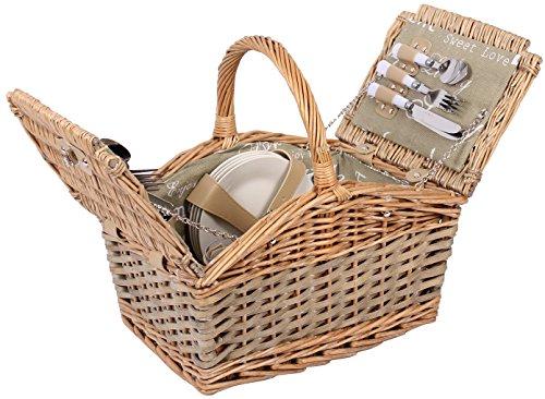 Selltex Picknickkorb für 4 Personen Weidenkorb inkl. praktischem Inhalt Messer Porzellan Teller Gläser Weide Korb