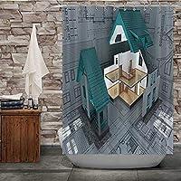 QDYLM バンガロー。ハウジング、布製シャワーカーテン、防水シャワーカーテン、バスルームアクセサリー、シャワーカーテン洗濯機で洗える3DHD印刷72x72インチ(12フックを含む)