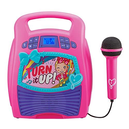 eKids JoJo Siwa Bluetooth Karaoke Machine, Portable Bluetooth Party Speaker with Microphone for Kids, Speaker with USB Port to Play Music